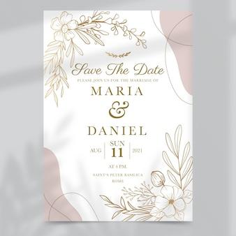Convite de casamento dourado desenhado à mão
