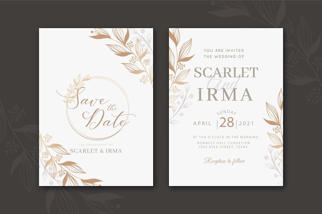Convite de casamento duotônico elegante