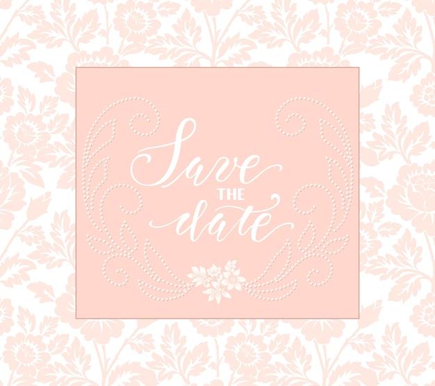 Convite de casamento e cartão de anúncio com arte floral.