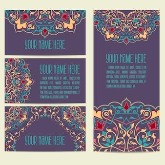 Convite de casamento e cartão de anúncio com ornamento em estilo árabe
