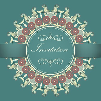 Convite de casamento e cartão de anúncio com rendas redondas ornamentais com elementos arabescos. estilo mehndi. oriente ornamento tradicional. ornamento floral colorido redondo de zentangle.