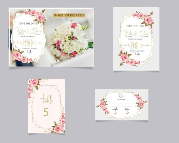 Convite de casamento e cartão de rsvp