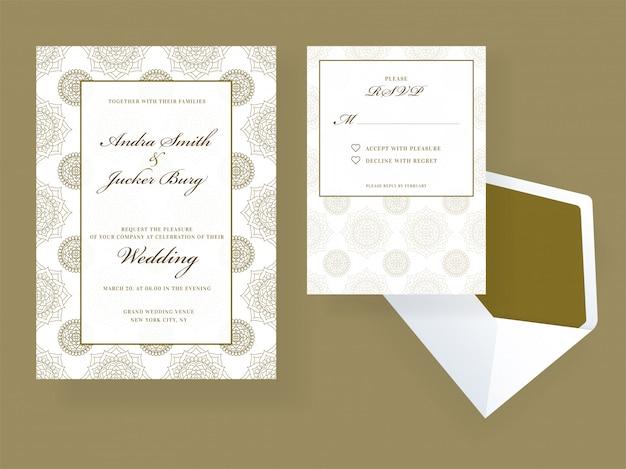 Convite de casamento e design de cartão rsvp