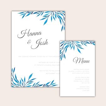 Convite de casamento e design de menu design aquarela
