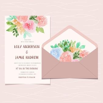 Convite de casamento e envelope com aquarela floral fofo