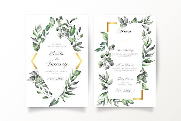 Convite de casamento e modelo de menu com folhas em aquarela