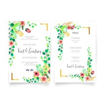 Convite de casamento e modelo de menu