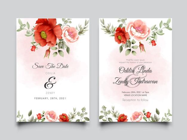 Convite de casamento elegante com bela ilustração de rosa e rosa vermelha