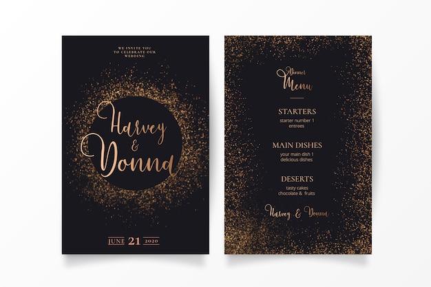 Convite de casamento elegante com brilho dourado