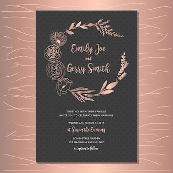 Convite de casamento elegante com coroa de flores de ouro rosa