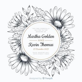 Convite de casamento elegante com flores de mão desenhada