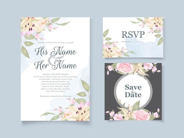 Convite de casamento elegante com flores e folhas