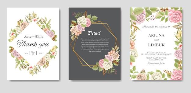 Convite de casamento elegante com flores