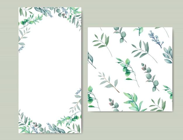 Convite de casamento elegante com folhas de fundo & sem costura