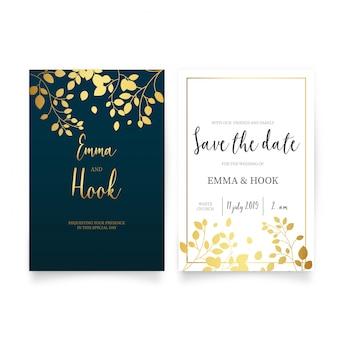 Convite de casamento elegante com folhas douradas