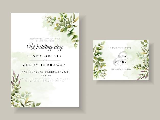 Convite de casamento elegante com folhas verdes Vetor Premium