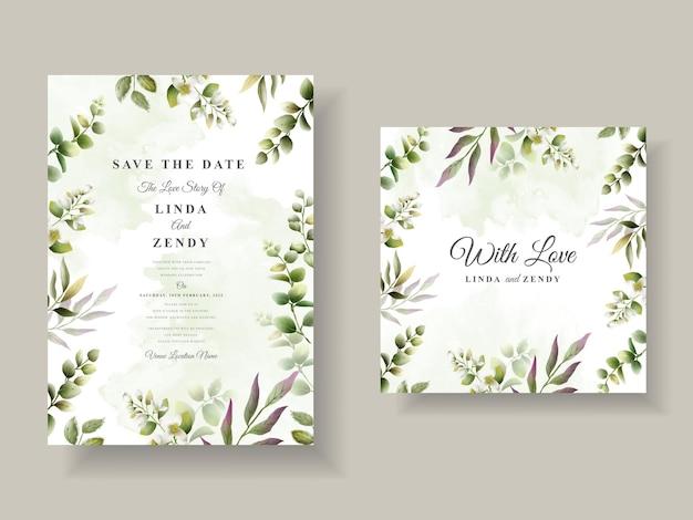 Convite de casamento elegante com folhas verdes