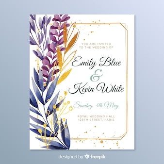 Convite de casamento elegante com folhas