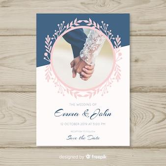 Convite de casamento elegante com foto
