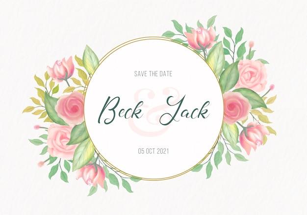 Convite de casamento elegante com moldura de flores em aquarela