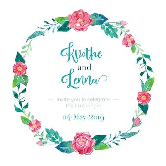 Convite de casamento elegante com moldura floral