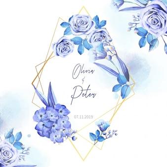 Convite de casamento elegante com moldura geométrica e dourada