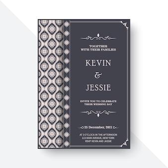 Convite de casamento elegante com motivos estampados