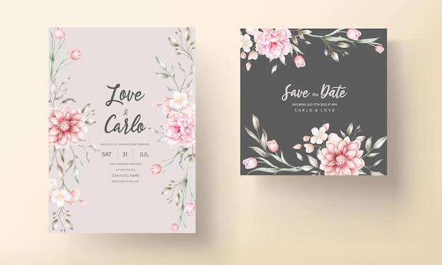 Convite de casamento elegante com motivos florais em aquarela
