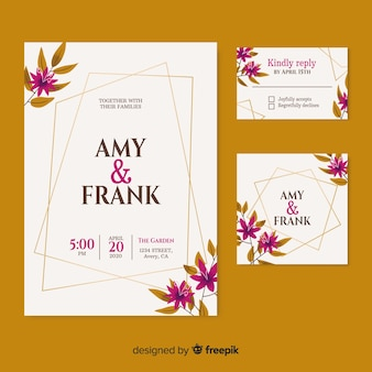 Convite de casamento elegante com nome de data e casal
