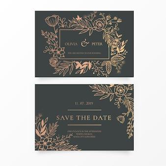 Convite de casamento elegante com ornamentos de ouro