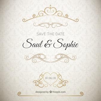 Convite de casamento elegante com ornamentos dourados