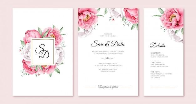 Convite de casamento elegante com peônia