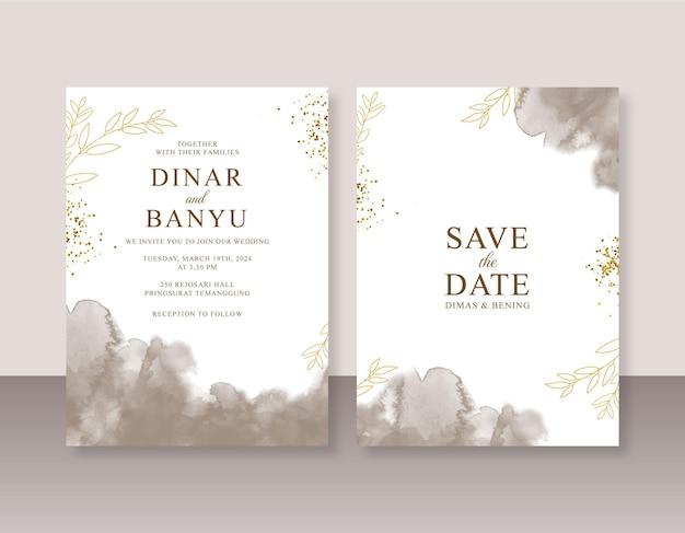 Convite de casamento elegante com respingos de aquarela abstratos