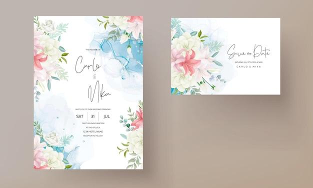 Convite de casamento elegante com uma bela mão desenhando flores e folhas