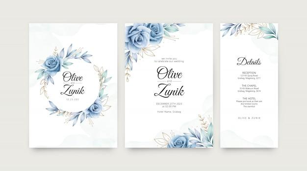 Convite de casamento elegante conjunto com rosas azuis aquarela e folhas douradas