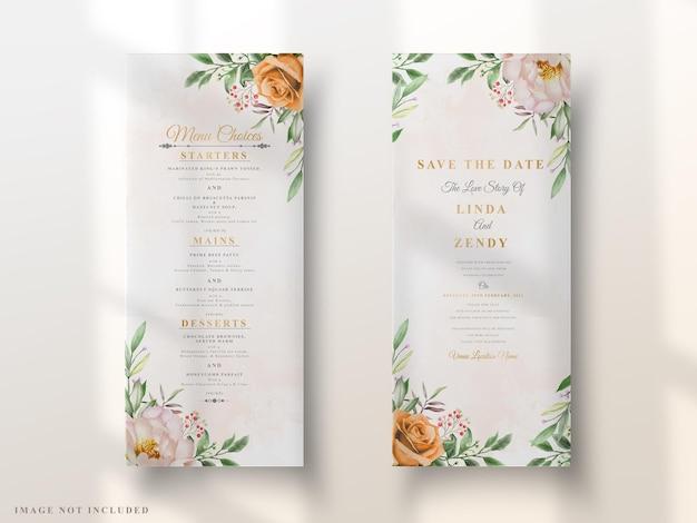 Convite de casamento elegante design floral