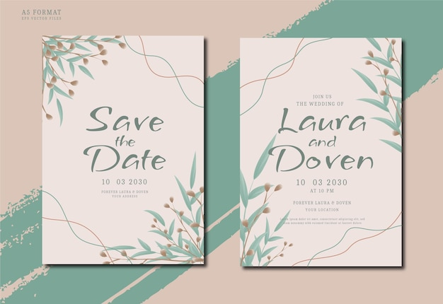 Convite de casamento elegante e minimalista desenhado à mão