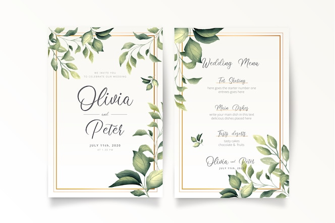 Convite de casamento elegante e modelo de menu