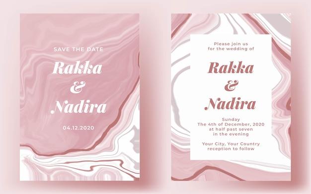 Convite de casamento elegante em mármore rosa abstrato