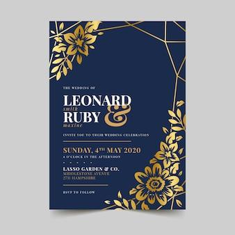 Convite de casamento elegante modelo