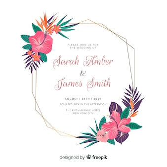 Convite de casamento elegante moldura floral plana