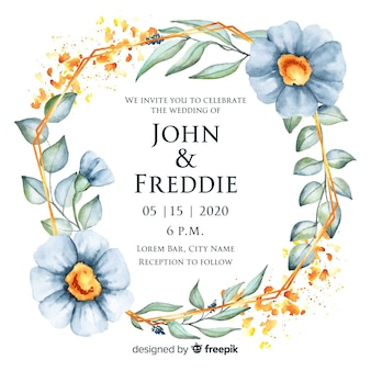 Convite de casamento elegante moldura floral