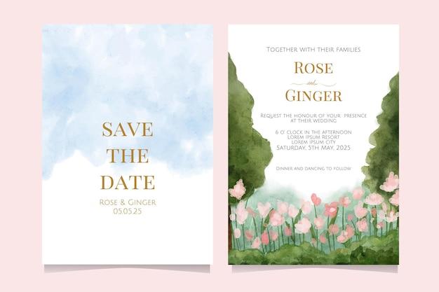 Convite de casamento em aquarela com bela paisagem