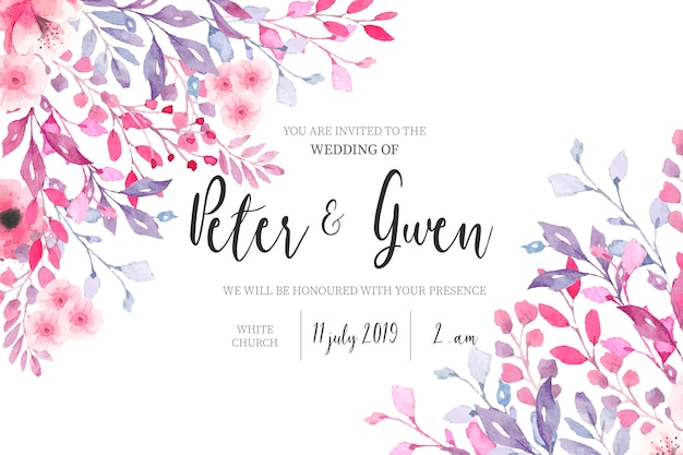 Convite de casamento em aquarela com borda floral