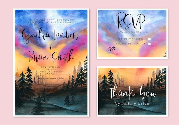 Convite de casamento em aquarela com céu e floresta ao pôr do sol