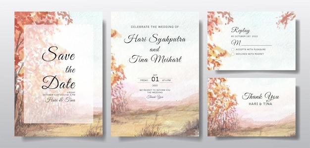 Convite de casamento em aquarela com céu e paisagem de árvores