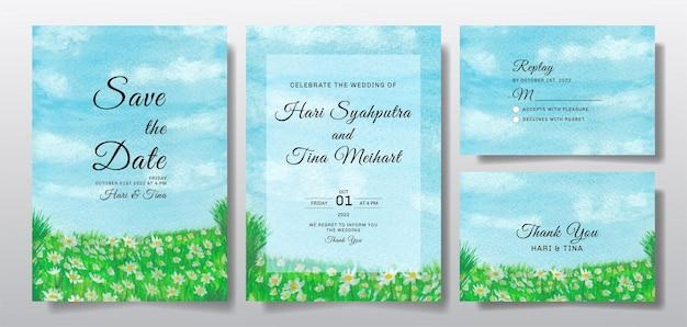 Convite de casamento em aquarela com céu e paisagem de flores