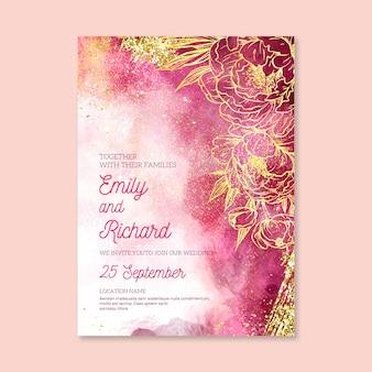 Convite de casamento em aquarela com detalhes dourados