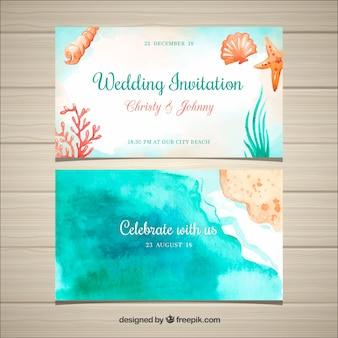 Convite de casamento em aquarela com elementos de praia