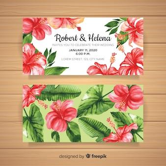 Convite de casamento em aquarela com flores tropicais